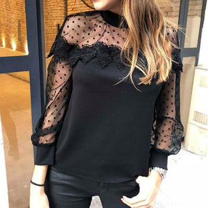 Sexy See-Through Lace Long Sleeve Shirt