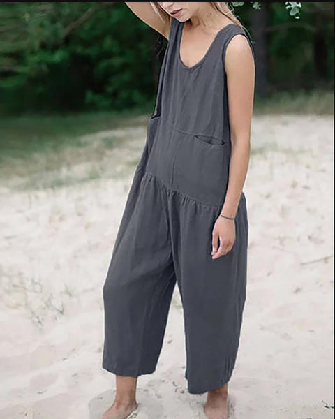 Cotton And Linen Pocket Casual Loose Jumpsuit