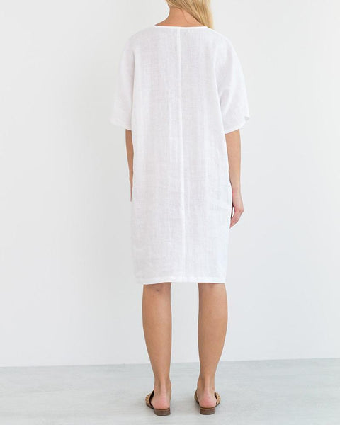 V-Neck Minimalist Linen Cold Dress