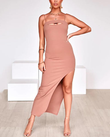 Sexy Suspender Slit Sleeveless Solid Bodycon Dresses
