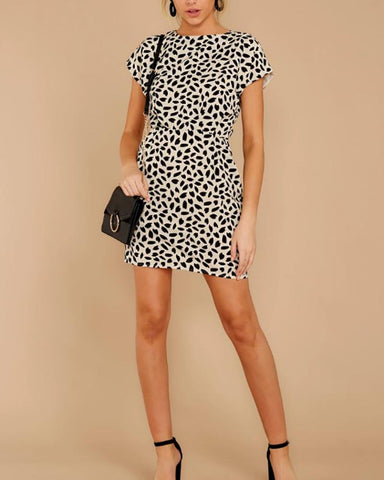 Casual Round Neck Short Sleeve Leopard Bodycon Dresses