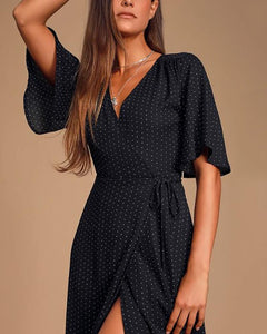 Sexy V-Collar High Fork Skater Dresses