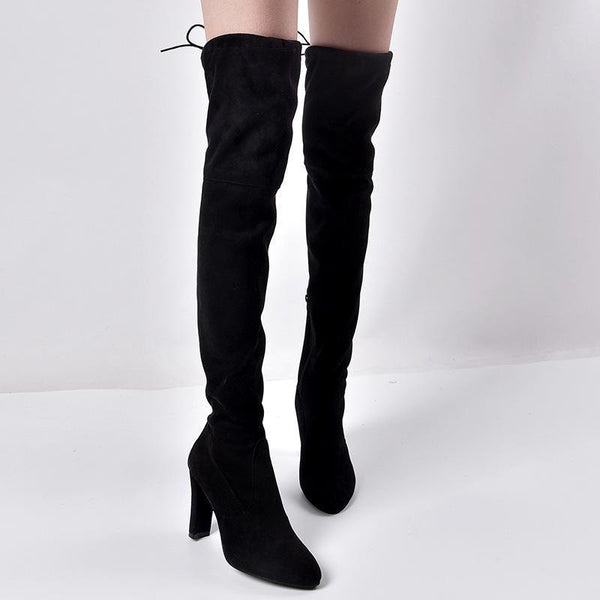 Pointed Elastic Side Zip Over Knee Thick Heel Boots