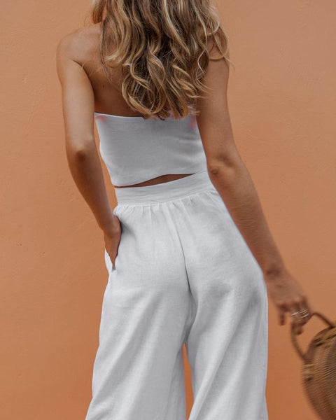 Sexy Tube Top Wide Leg Trouser Suit