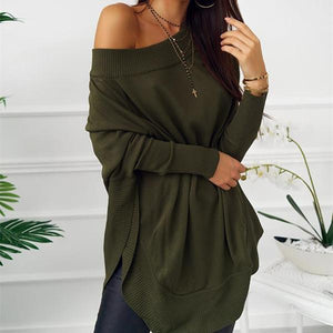 Fashion Casual Pure Color Sexy One Word Shoulder Slit Butterfly Sleeve Loose Mini Dress