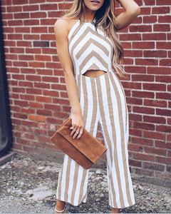 Linen Openwork Striped Comfortable Jumpsuit