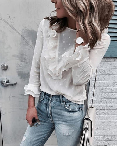 V-Neck Perspective Ruffled Shirt