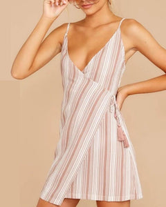 Cute Sling Stripe Sleeveless Mini Dress