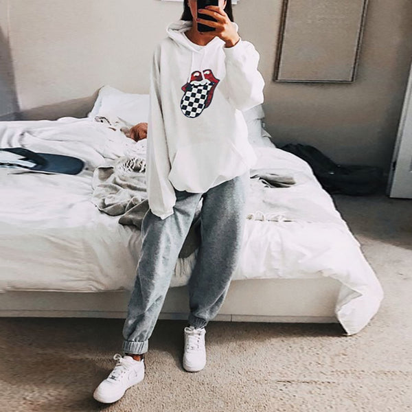 Casual Loose Long Sleeved Print Hooded Sweatshirt