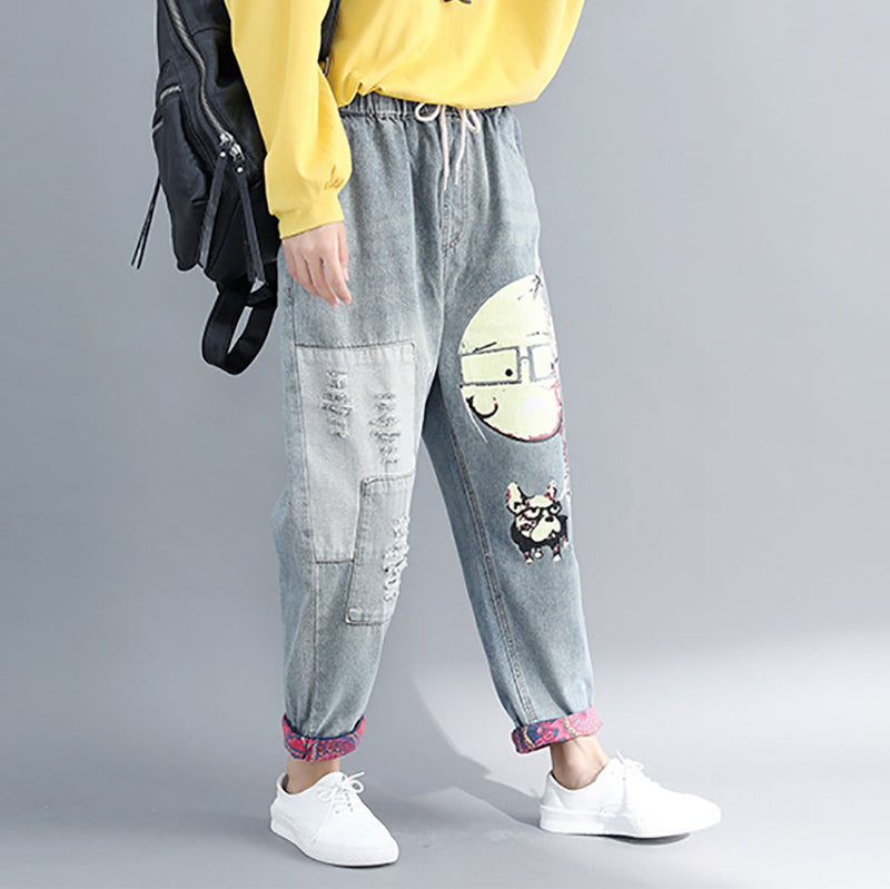 Vintage printed denim casual harem pants