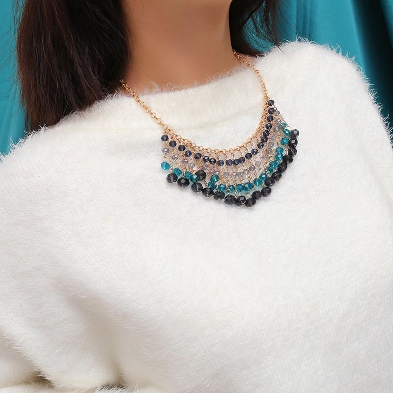 Fashion Vintage Ethnic Bohemia Style Simple CrystalNecklace