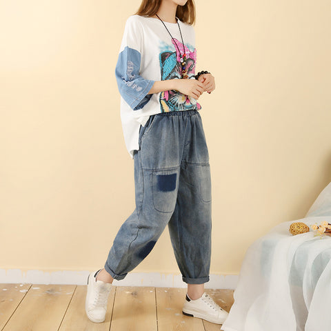 Women's lazy wind vintage old jeans