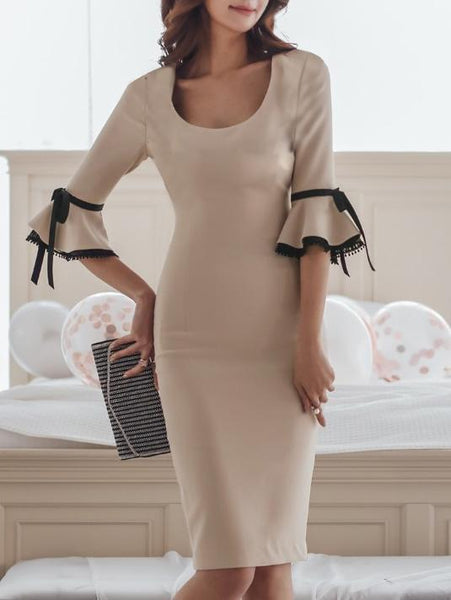 Round Neck  Bowknot Decorative Lace Slit  Plain Bodycon Dress