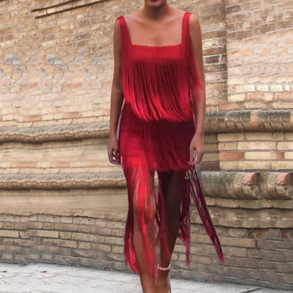 Sexy Fashion Red Sleeveless Tassel Maxi Dress Bodycon Dress