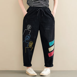 Fashion Embroidered Patch Loose Straight Jeans