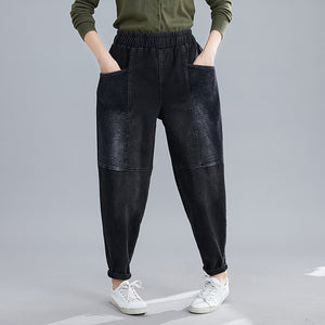 Fashion pocket stitching corduroy harem pants