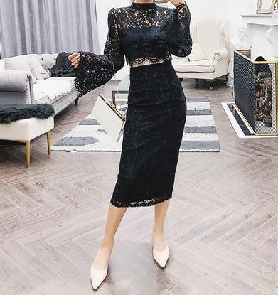 Casual Sexy Horn Sleeve Jacket And Half Length Skirt Lace Suit