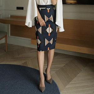 Casual Geometric Patterned Shown thin Half length Skirt