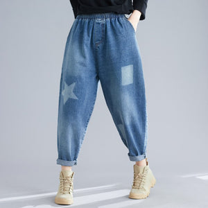 Fashion Geometric Pattern Elastic Waist Loose Jeans