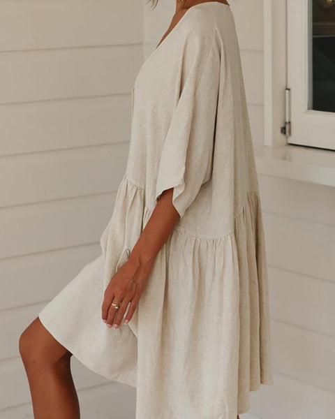 V-Neck Button Ruffled Linen Dress