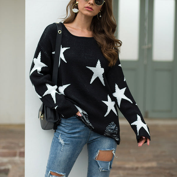 Fashion Round Collar Broken Holes Knitted Sweater