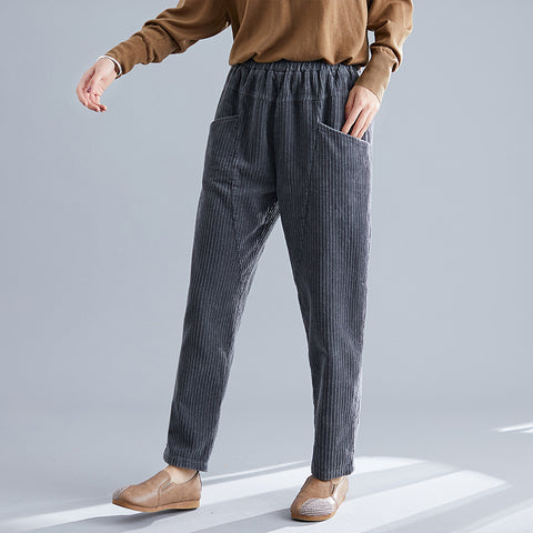 Womens Retro Solid Colour Casual Pants