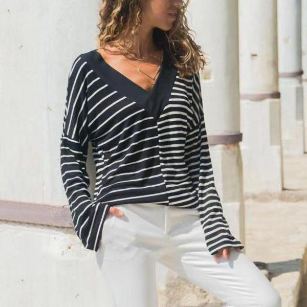 Casual Stripe color   matching v neck long sleeve T-shirt