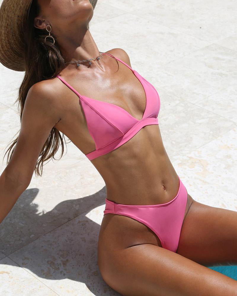 Solid Color Stitching Simple Sexy Bikini