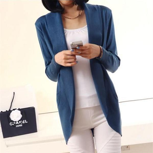 Casual Pure Color Medium Length Knit Cardigan V-Neck Sweater Jacket