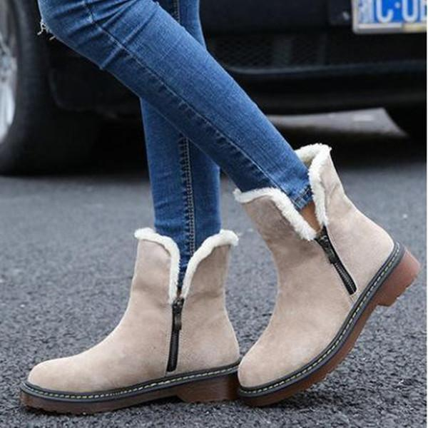 Large Size Plain Flat Warm Boots Round Toe Zipper Snow Boots