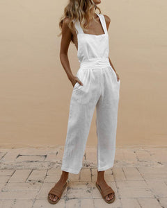 Linen Cross Tie Halter Bow Jumpsuit