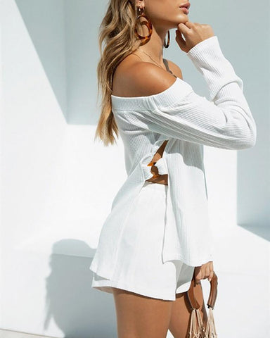Off-The-Shoulder Metal Ring Cutout Top & Shorts Suit