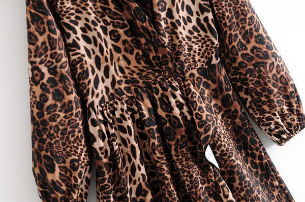 V-Neck Leopard Temperament Long-Sleeved Dress