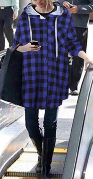 Casual Large plaid Hoodies Coat
