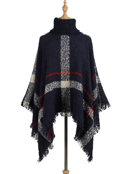 High Neck Plaid Cape Sweaters