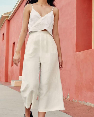 Overlapping V-Neck Cotton Wide-Leg Pants Suit