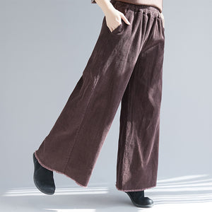 Women's Vintage Corduroy Wide Leg Casual Pants