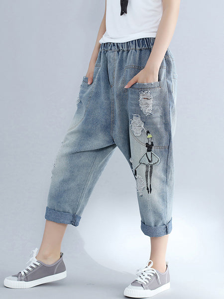 Women's loose casual embroidery hole jeans