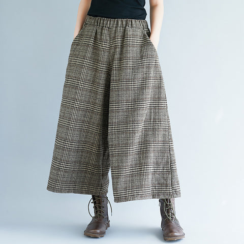 Leisure Elastic Waist Plaid Wide Leg Pants