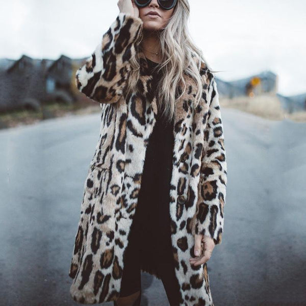 Leopard Fashion Lapel Long Sleeve Coats