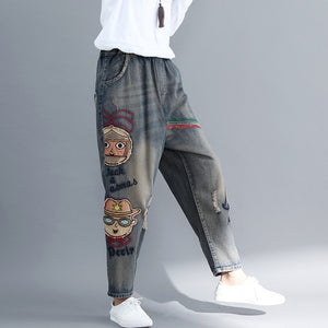 Literary embroidery casual harem pants