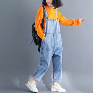 Wild lady loose denim overalls