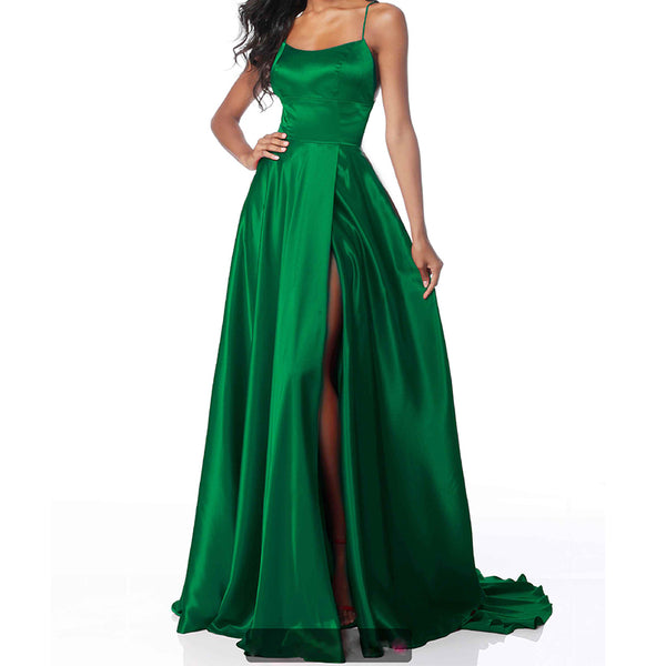 Sexy Sling Slitted Backless Ball Evening Dress