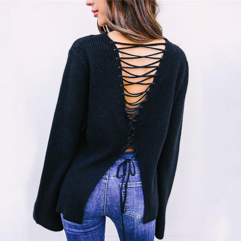 Pure Color Back V Slit   Strap Horn Sleeve Cardigan Sweater