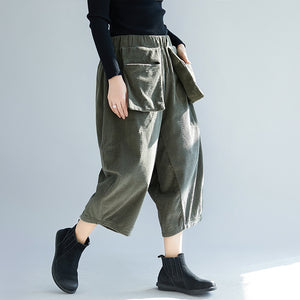 Women's art corduroy casual trousers