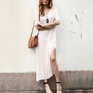 Casual Loose V Collar Cotton And Linen Slit  Maxi Dress