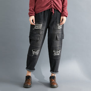 Fashion solid color shredded washed jeans