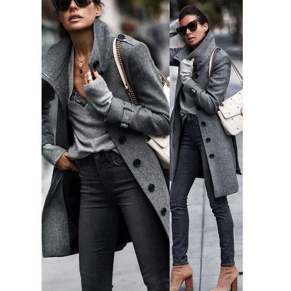 Fashion Pure Colour Long Sleeve Coat