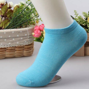 10 pcs Cute Candy Color Socks  -  Lake blue / Free Size  -  Socks  - SNS Outlet