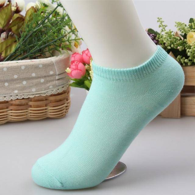 10 pcs Cute Candy Color Socks  -  Water blue / Free Size  -  Socks  - SNS Outlet